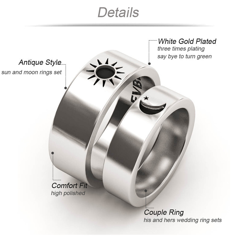 His And Hers Wedding Ring Sets.Us 8 0 11 Off Evbea Sun And Moon Rings Set Antique White Gold His And Hers Wedding Bands Love Ring In Rings From Jewelry Accessories On