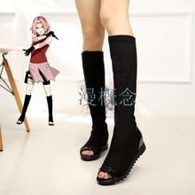 WHOHOLL Cosplay Shoes Haruno Sakura Japanese Anime Naruto Shippuden Black Ninja Boots Anime Shinobi Cosplay Costumes Shoes стоимость