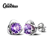 2016 New 925 Silver Women Small Earrings Fashion Fine Jewelry Angel Kiss Luxury Crystal heart Stud