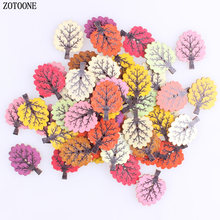 ZOTOONE 100pcs Mix Random Colorful Trees Shaped Wooden Buttons 2 Holes Scrapbooking Products Sewing Craft for Kids C