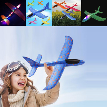 48cm EPP Foam Airplane Hand Launch Throwing Glider LED Light Aircraft Plane Model Outdoor Education Toys Gift for Children Adult