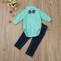 2017 FASHIONToddler Kids Baby Boys Outfit Clothes Tie Plaid Tops Shirt+Jeans Long Pants 1Set