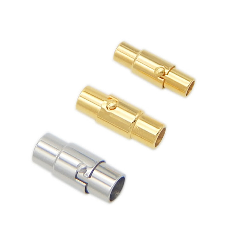 2pcs Gold Plated 316L Stainless Steel Magnetic Clasps 3/4/5mm Hole Leather Clasps For DIY Leather Bracelets Jewelry Connector basehome stainless steel magnetic clasps metal connector fit 8x3 10x3 15x3mm flat leather cord bracelets findings diy jewelry