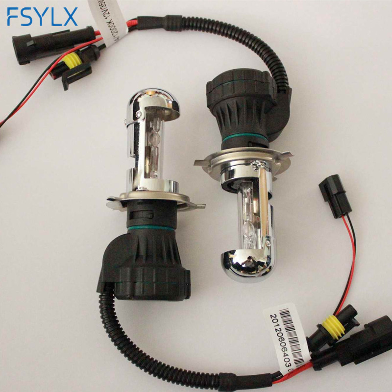 цена на FSYLX 1Pair Bi Xenon 12V 35W H4 HID Auto Headlight Replacement Bulbs H4-3 Hi/Lo HID Xenon bulb 4300k 6000k 8000k 10000k