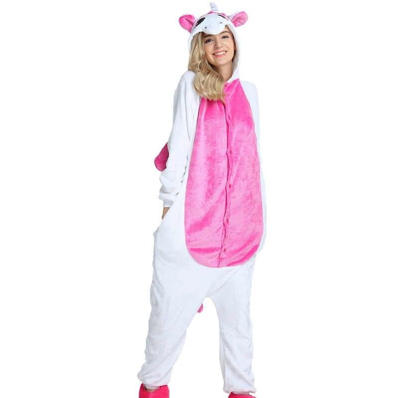 ... PSEEWE зимние пижамы для девочек для Женщин Единорог панда стежка  комбинезоны пижамы с животными для взрослых ... 77ee909278836