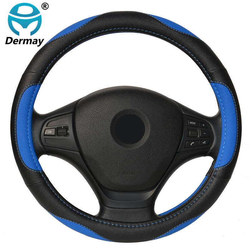 DERMAY 7Colors PU Leather Car Steering Wheel Cover For Ford Focus BMW Volkswagen Toyota Renault KIA Skoda Opel Mazda Audi dermay high quality car genuine leather steering wheel cover massage m size for lada ford nissan vw skoda chevrolet etc 98% car