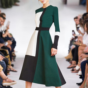 56c114c57d9cda4 XF 2019 Весна и лето модели дизайнерские ретро повседневные женские платья  шить средней длины мода платья Миланского подиума платье