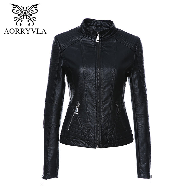 AORRYVLA 2019 New Spring Leather Jacket Women Black Color Mandarin Collar Zippers Short Female Faux Leather