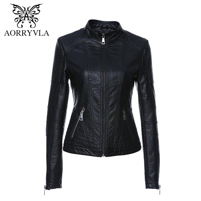 AORRYVLA Новый женские кожаные куртка на осень 2017 г. черный Цвет воротник-стойка Молнии короткий женский Куртка из искусственной кожи высокое к...
