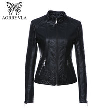 AORRYVLA Jacket Short Mandarin-Collar Faux-Leather Autumn High-Quality Black-Color Women