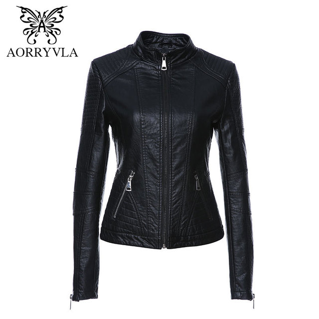 dcd3731837ca AORRYVLA 2019 New Spring Leather Jacket Women Black Color Mandarin Collar  Zippers Short Female Faux Leather Jackets High Quality-in Leather & Suede  from ...