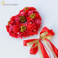Romantic heart shaped Silk flower Gold pe rose wedding car sets wedding flower decoration 3colors