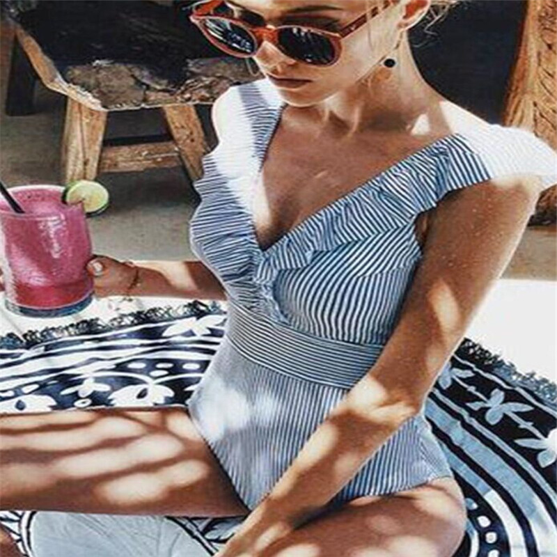 Sexy Ruffle Striped Bodysuits Off Shoulder V Neck Swimwear Open Back Sleeveless Romper Women Push Up Beach Bathing Suits 3Colors