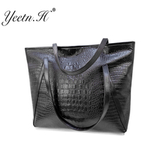 2016 Hot Sale New Arrival Alligator Leather Women Handbag Fashion Daily Casual Tote Bags Street  Style Black Shoulder Bag  M5652