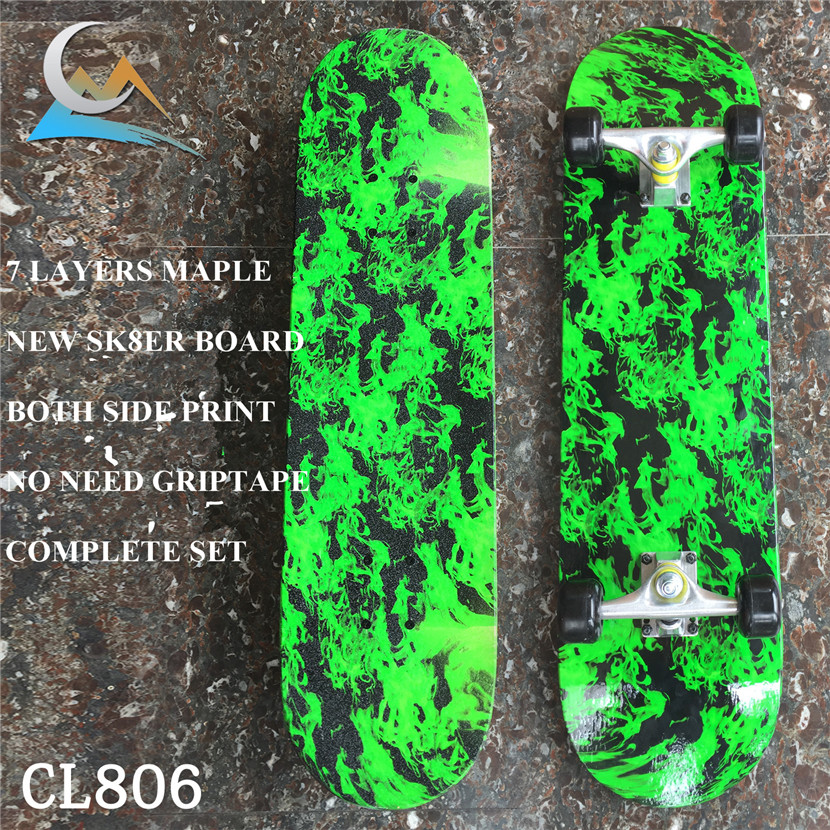 Green Forest Pattern Skateboard Complete Set With Trucks, Wheels&Bearings For Kids And New Skaters Free Shipping