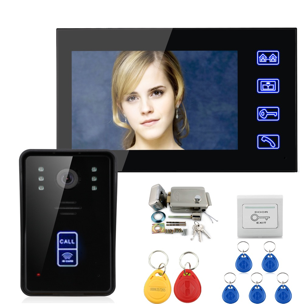7 Wired Color Video Door Phone Intercom System 1 Monitor+1 Kit IR Night Vision Camera+Metal Electronic Door Lock+Exit Button 7 monitor video door phone system video intercom ir night vision alloy door camera wired alloy video doorbell interphone kits