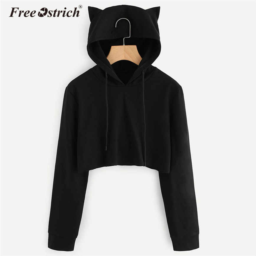 Free Ostrich Sweatshirt Women Pullovers Casual Solid Long Sleeve Cat Ear Hooded Tops Hoodies Female Blouse Dropshipping De29