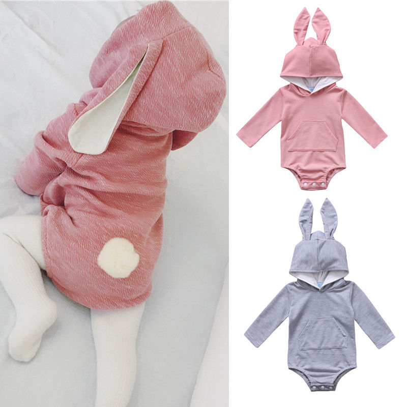 Solid Long Sleeve Hooded Bunny Tail Baby Romper With Kangaroo Pocket Easter Clothing