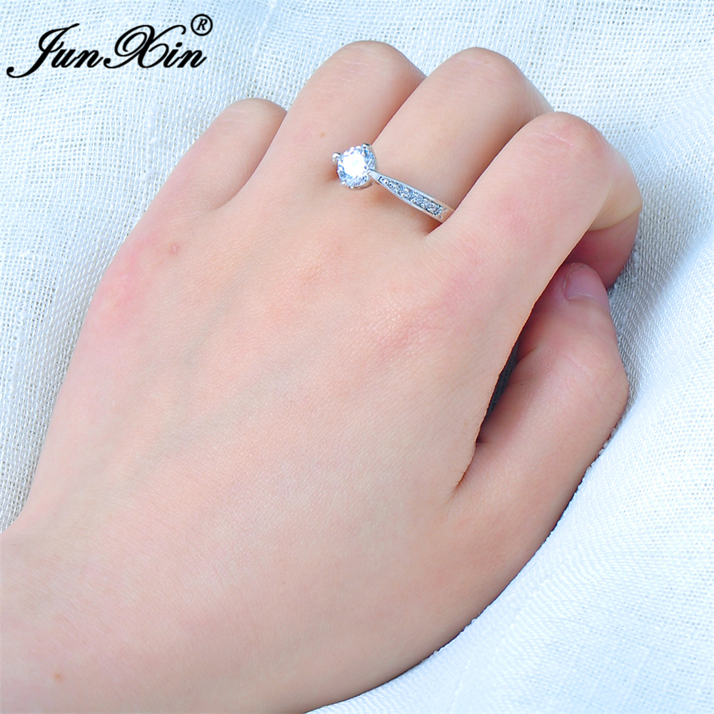 JUNXIN Fashion Blue & Pink Round Ring White Gold Filled Vintage ...