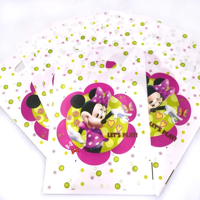 10pcs Hot Light Pink Minnie Mouse Gift Loot Bags Ideas Cheap 1st Birthday Party Items Supplies