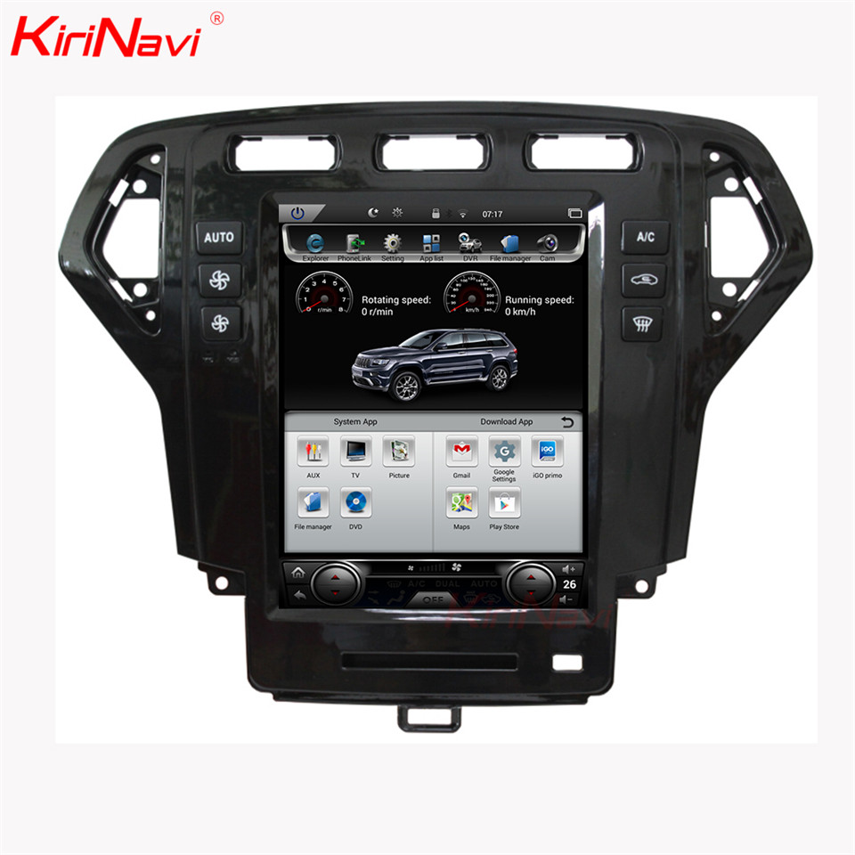 KiriNavi Vertical Screen Tesla Style 10.4 Inch Car Dvd Player For Ford Mondeo Car Radio Android 6.0 Gps Navigation 2007 2010 4G