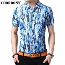 COODRONY Brand Soft Cotton Men Shirt 2019 Summer Cool Short Sleeve Streetwear Fashion Sky Pattern Casual Shirts S96058