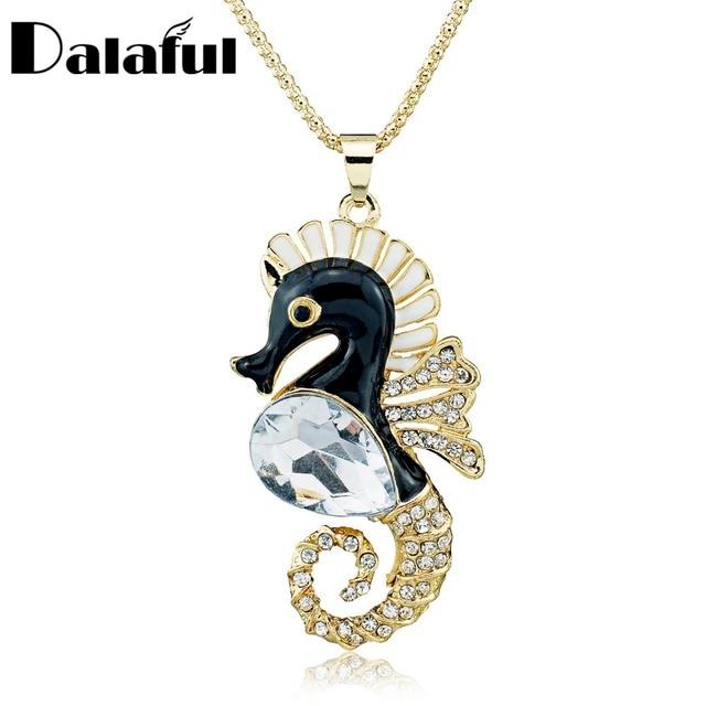 Black Enamel Hippocampus Seahorse Crystal Necklace For Women Gift Long Chain Necklaces Pendants M141