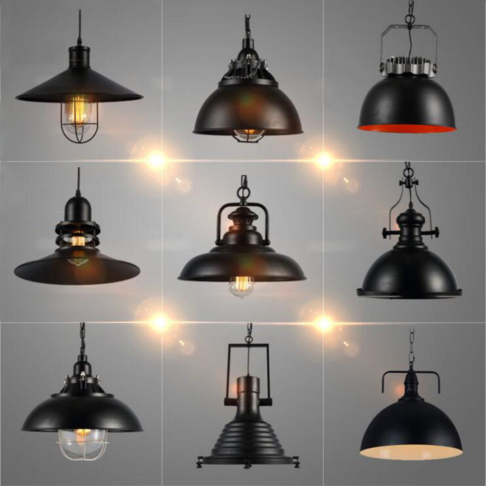 Industrial Vintage Pendant Lights with E27 Edison Bulb, American Country Style Loft Iron Retro ...