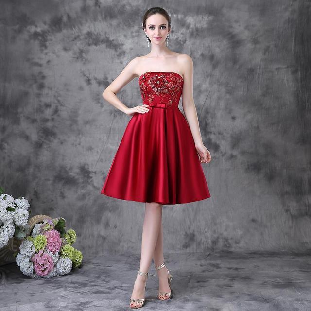 Robe Soiree Courte Et Chic Strapless Red Satin Short Latest Designs ...