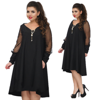 2018 Plus Size Women Dress Mesh Sleeve Party Dress 5XL 6XL Large Size Loose Summer Dress