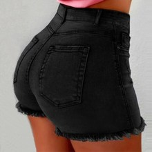 Women High Waist Denim Shorts Ripped Hole Bodycon Short Feminino Summer With Tassel Jeans