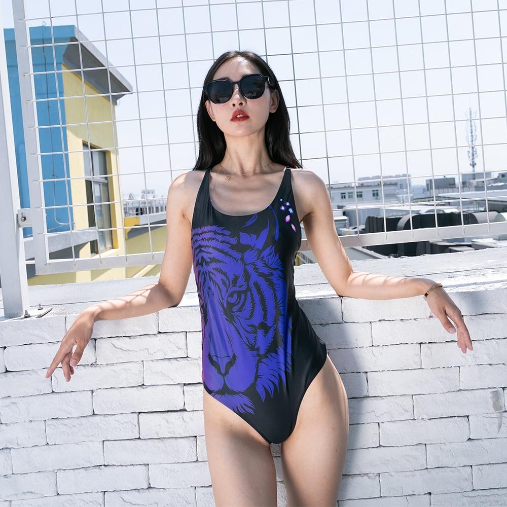 EraPinky 2019 Wild Tiger Lion Printed Swimwear Women One Piece Swimsuit High Waist Sexy Bathing suit Summer