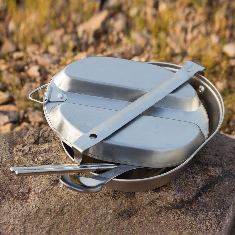 Prix pour 1 personne camping cooking set pique-nique ensemble faca militaire cantine camping boîte à lunch en aluminium