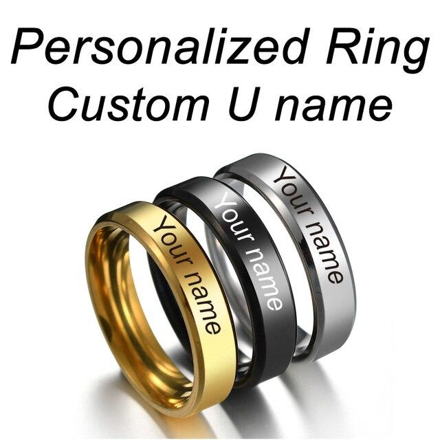 Personalizado Anéis de Aço Inoxidável Gravado Com Seu Nome Personalizado Textos Caligrafia Assinatura Das Mulheres Dos Homens Unisex Anel de Titânio