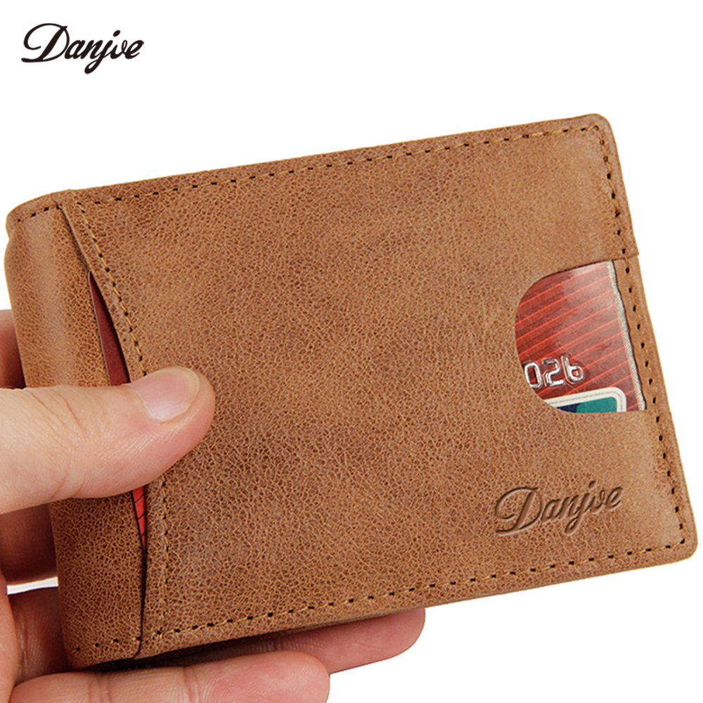 DANJUE Genuine Leather Money Clips Men Vintage Slim Credit Card Clip Purse Male Trendy Wallet Soft Leather Money Bag
