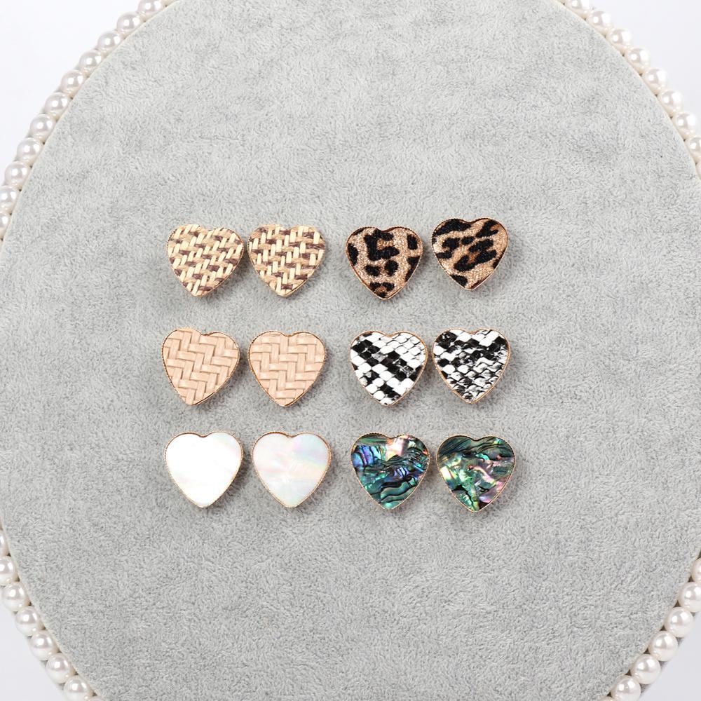 Stud-Earrings Jewelry Abalone-Shell Weave Peach-Heart Statement Small Leopard Cute Women