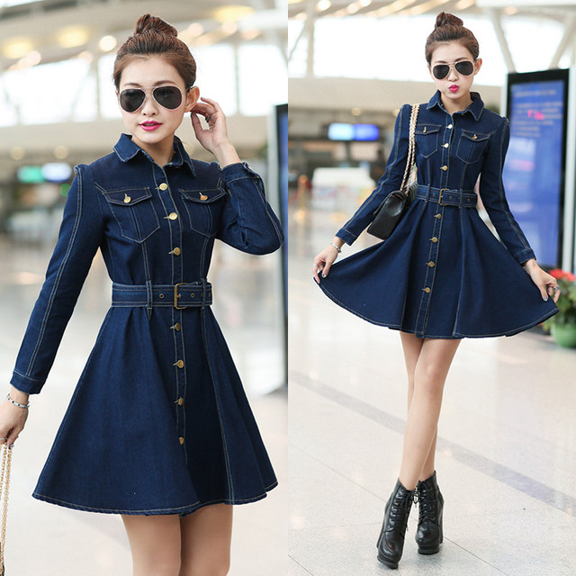 Women Spring Summer Long Sleeve Slim Denim Dresses Female Casual Lapel Solid Color Button Cardigan A Line Jeans Dress Miniskirt