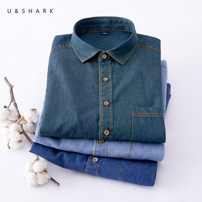 U & SHARK Élégant Hommes Denim Chemise Classique Bleu à manches longues Chemise Coton Casual Chemises 2018 Printemps Marque Vêtements hommes Jeans Chemise