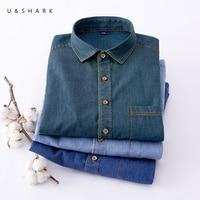 U SHARK Stylish Men Denim Shirt Classic Blue Long Sleeved Shirt Cotton Casual Shirts 2018 Spring