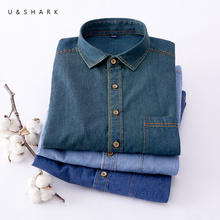 U&SHARK Stylish Men Denim Shirt Classic Blue Long-sleeved Shirt Cotton Casual Shirts 2018 Spring Brand Clothes Men Jeans Shirt