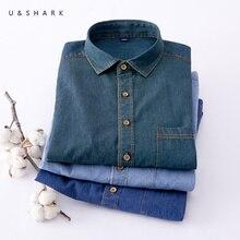 U & SHARK niebieski koszula dżinsowa dla mężczyzn swobodny kowboj bawełniane koszule z długim rękawem koszula Vintage odzież męska moda stylowy Chambray