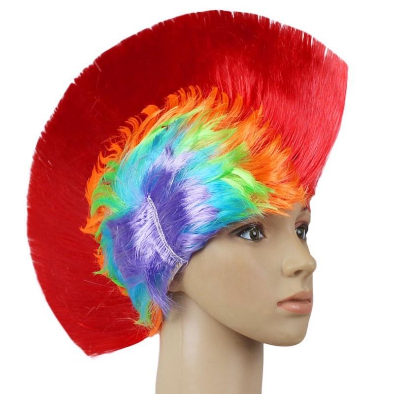 Hot Rainbow Mohawk Hair Wig Fancy Costume Punk Rock Wigs Halloween Cosplay Party 10