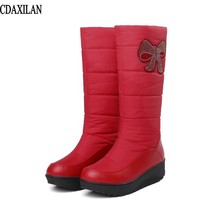 CDAXILAN new arrivals snow boots women down thickened plush warmth legs mid-calf mid heel wedge shoes ladies winter