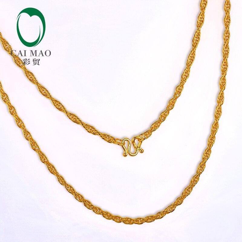 CAIMAO 24 K pur 999 or torsadé corde chaîne Design femmes Engagement fin exquis cadeau à la mode 45 cm longueur