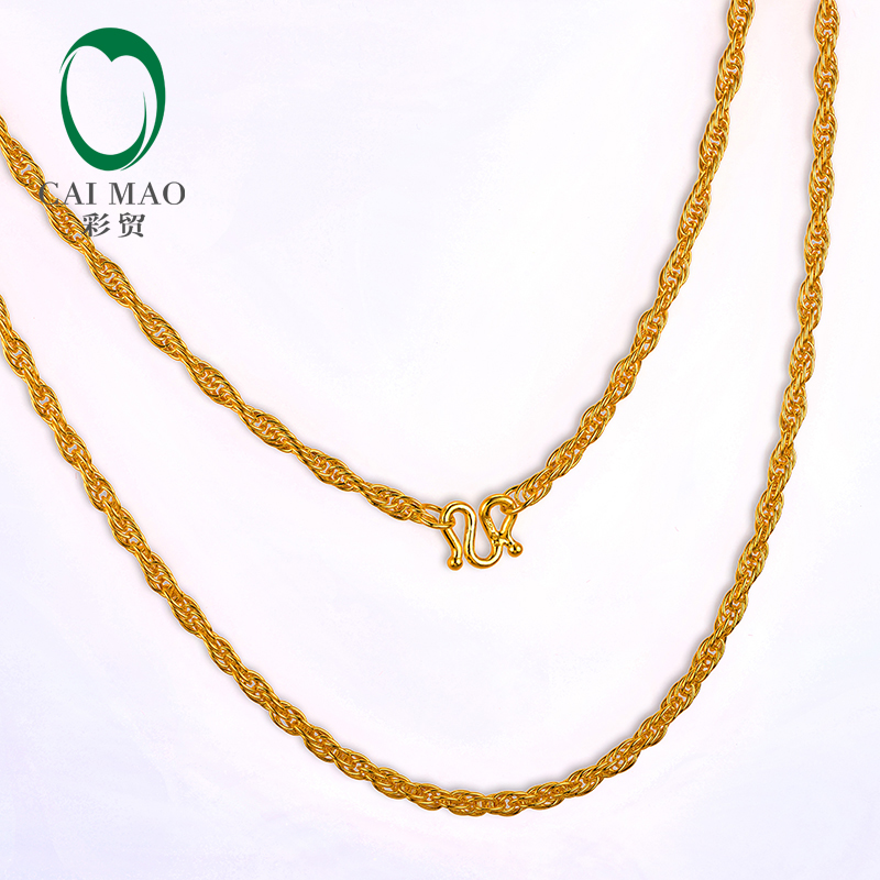 CAIMAO 24K Pure 999 Gold Twisted Rope Chain Design Womens Fine Engagement Exquisite Gift Trendy 45cm Length