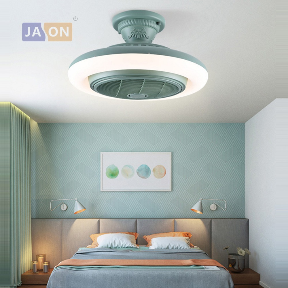 LED Postmodern Alloy Acryl ABS White Grey Blue Green Ceiling Fan.LED Lamp.LED Light.Ceiling Lights.LED Ceiling Light.For Foyer