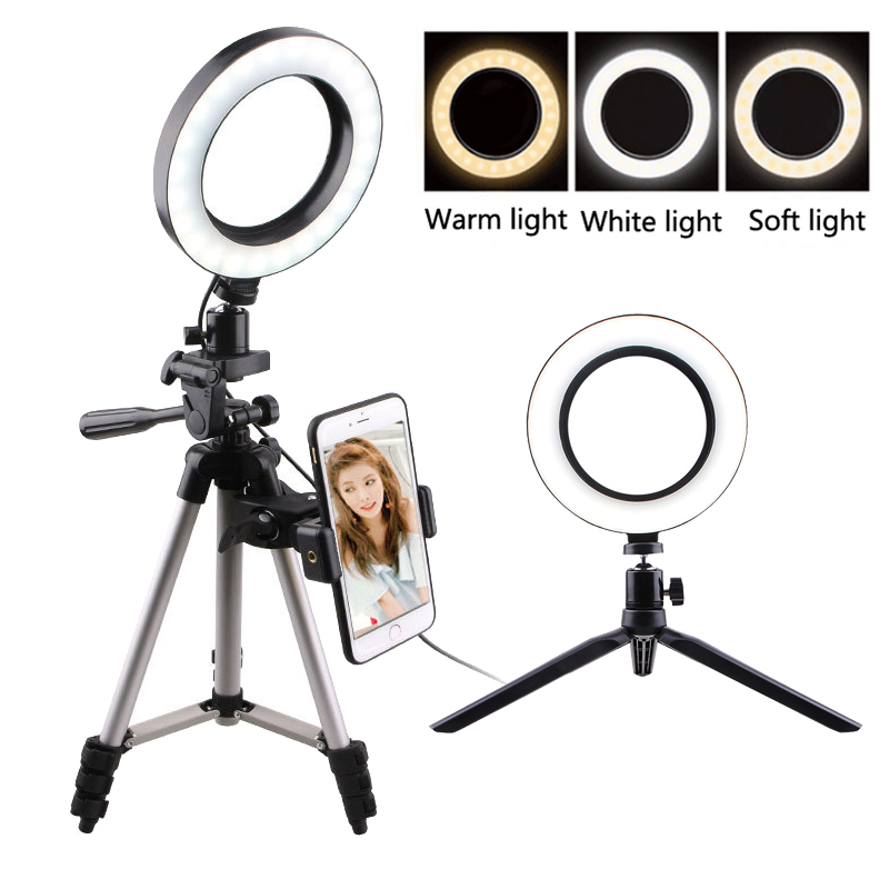 Mobile Phone Flashes & Selfie Lights Dimmable Fill LED Ring Light For Youtube Makeup Phone Selfie With Tripod Phone Holder Clip