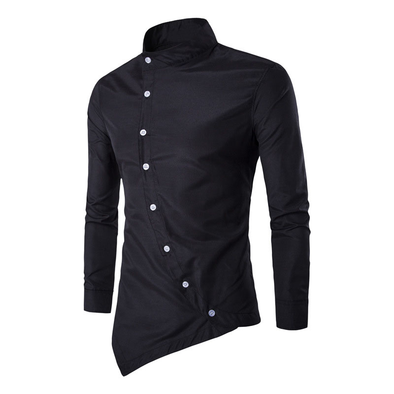 New Royal Men's Shirt 2017 Mandarin Collar Oblique Placket ...