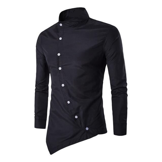 Nueva Camisa de Los Hombres Reales 2017 Mandarina Cuello Tapeta Oblicua Personalidad Irregular Camisas de Vestir Diseñador de Los Hombres Camisa de manga Larga
