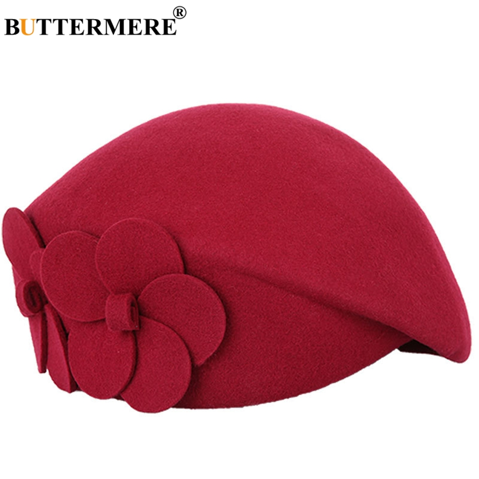 BUTTERMERE Elegant Hats For Ladies Wool Red Fedoras Flower Grace French Berets Women Cap Solid Warm Autumn Winter Felt Hat Black 19